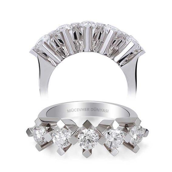 Mücevher Dünyası - HRD Sertifikalı 0,40 Karat Pırlanta Beştaş Yüzük