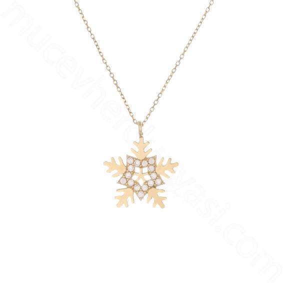 Mücevher Dünyası - 10 Ayar Altın Taşlı Yıldız Kartanesi Kolye