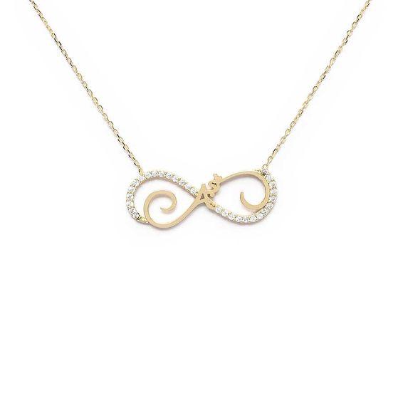 Mücevher Dünyası - 10 Ayar Sonsuzluk Aşk Taşlı Altın Kolye - 44 Cm.