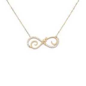 Mücevher Dünyası - 10 Ayar Sonsuzluk Aşk Taşlı Altın Kolye