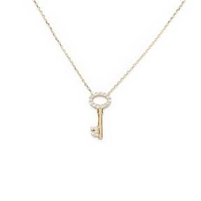 Mücevher Dünyası - 10 Ayar Taşlı Anahtar Altın Kolye