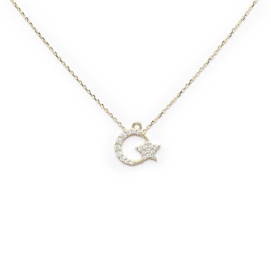Mücevher Dünyası - 10 Ayar Taşlı Ayyıldız Altın Kolye