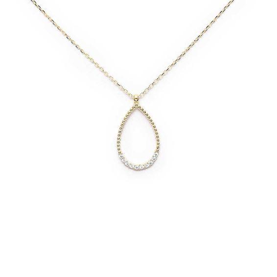 Mücevher Dünyası - 10 Ayar Taşlı Damla Kolye