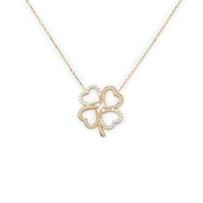 - 10 Ayar Taşlı Dört Kalp Çiçek Altın Kolye