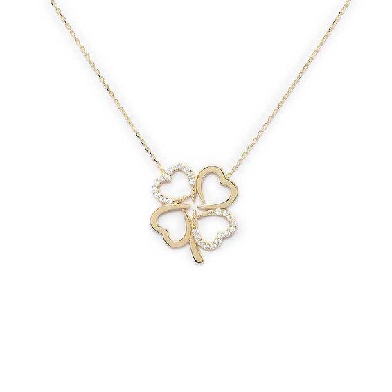 10 Ayar Taşlı Dört Kalp Çiçek Altın Kolye