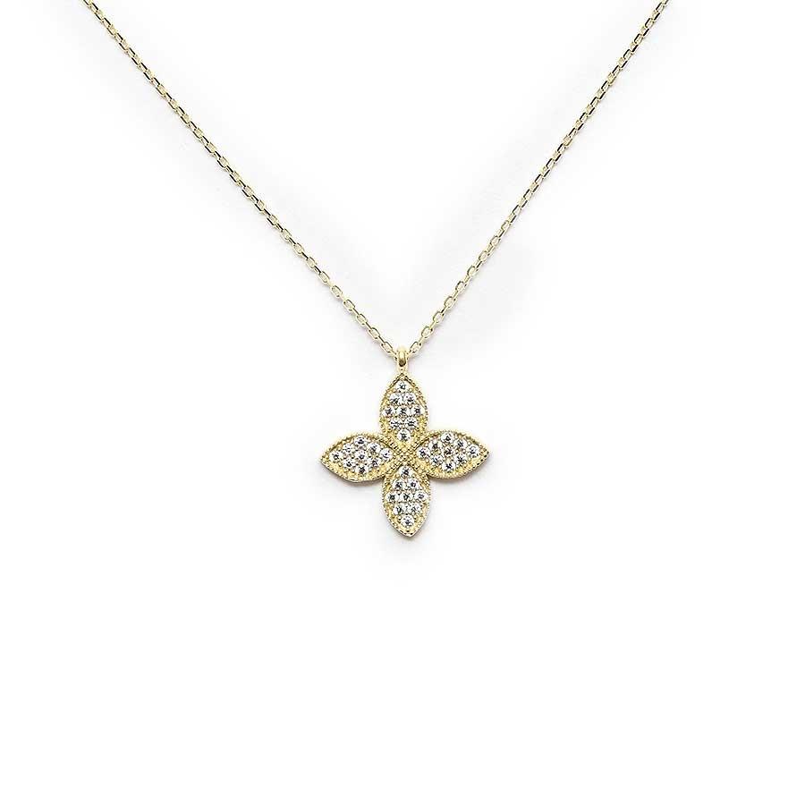 Mücevher Dünyası - 10 Ayar Taşlı Dört Yaprak Çiçek Altın Kolye