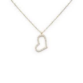 Mücevher Dünyası - 10 Ayar Taşlı Kalp Altın Kolye
