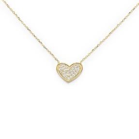 - 10 Ayar Taşlı Kalp Altın Kolye