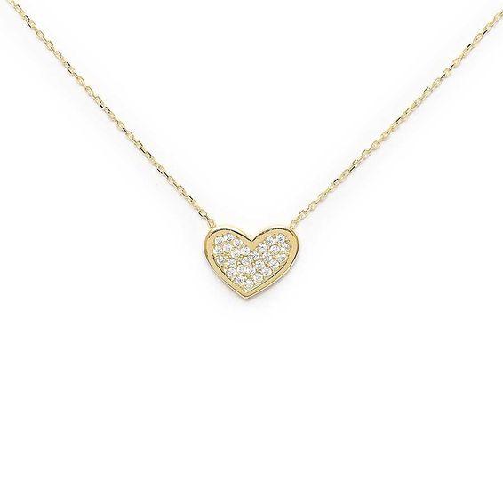 10 Ayar Taşlı Kalp Altın Kolye