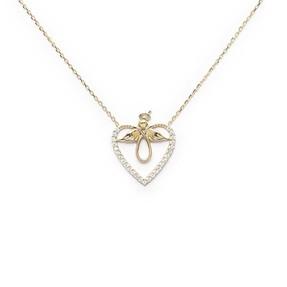 Mücevher Dünyası - 10 Ayar Taşlı Kalp Melek Altın Kolye