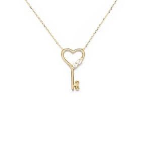 - 10 Ayar Taşlı Kalpli Anahtar Altın Kolye