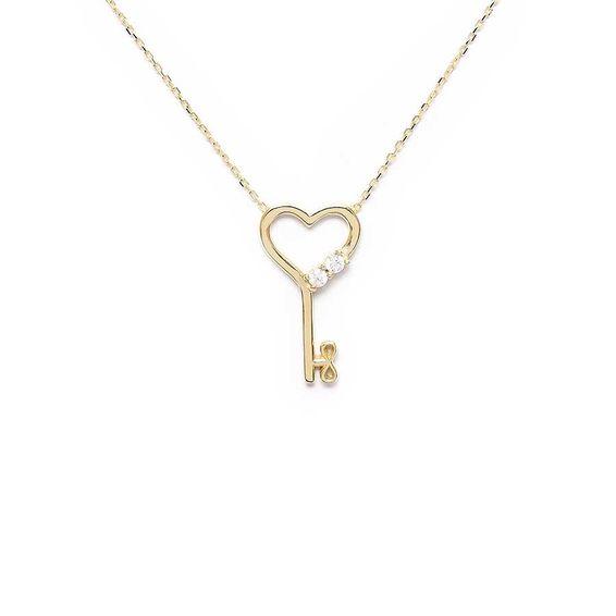 10 Ayar Taşlı Kalpli Anahtar Altın Kolye