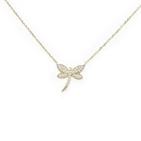 - 10 Ayar Taşlı Kelebek Altın Kolye