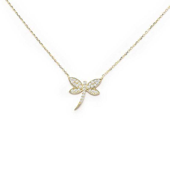 10 Ayar Taşlı Kelebek Altın Kolye
