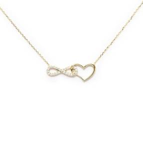 - 10 Ayar Taşlı Sonsuzluk Kalp Altın Kolye