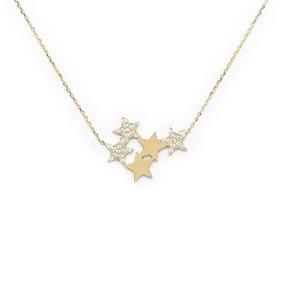 - 10 Ayar Taşlı Yıldızlı Altın Kolye