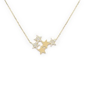 Mücevher Dünyası - 10 Ayar Taşlı Yıldızlı Altın Kolye