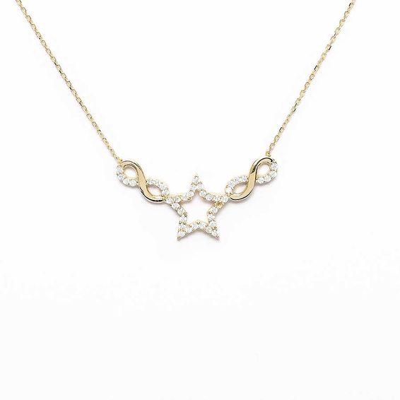 Mücevher Dünyası - 10 Ayar Taşlı Yıldızlı Sonsuzluk Altın Kolye - 44,5 Cm.