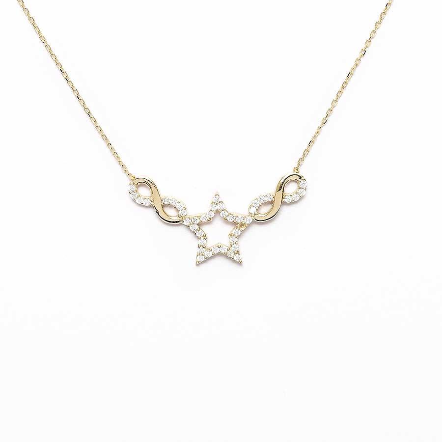 Mücevher Dünyası - 10 Ayar Taşlı Yıldızlı Sonsuzluk Altın Kolye