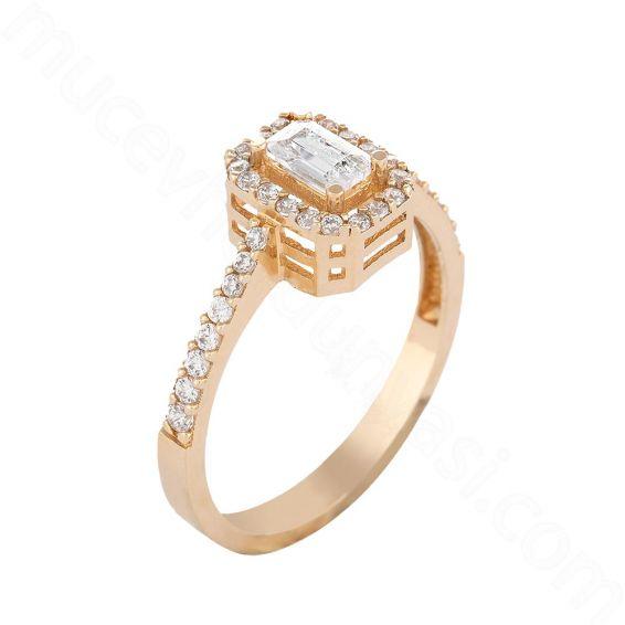 Mücevher Dünyası - 14 Ayar Zirkon Taşlı Baget Altın Yüzük - 15
