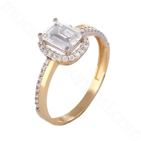 Mücevher Dünyası - 14 Ayar Altın Baget Yüzük