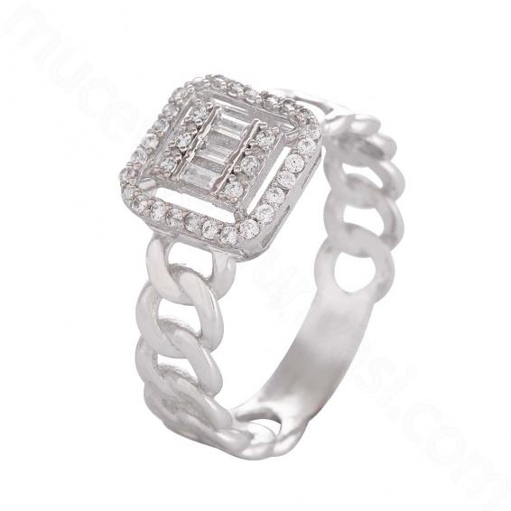 Mücevher Dünyası - 14 Ayar Altın Zirkon Taşlı Baget Yüzük