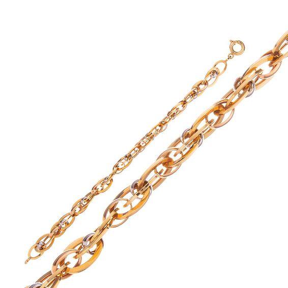 Mücevher Dünyası - 14 Ayar Sarı Ve Beyaz Altın Bileklik