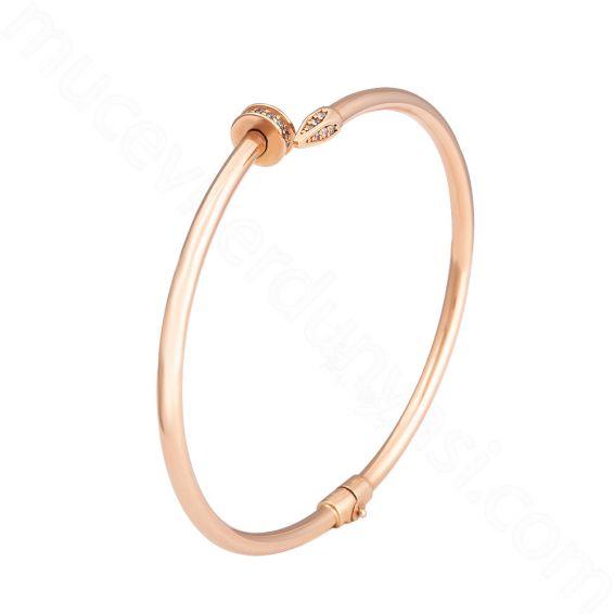 Mücevher Dünyası - 14 Ayar Altın Çivi Kelepçe Bilezik