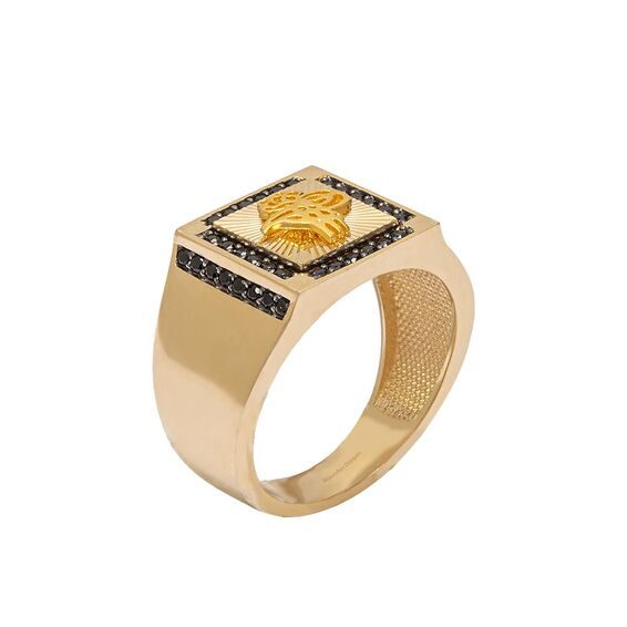 Mücevher Dünyası - 14 Ayar Taşlı Osmanlı Tuğrası Altın Erkek Yüzük