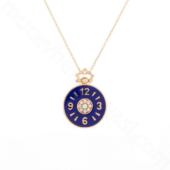 Mücevher Dünyası - 14 Ayar Altın Saat Kolye