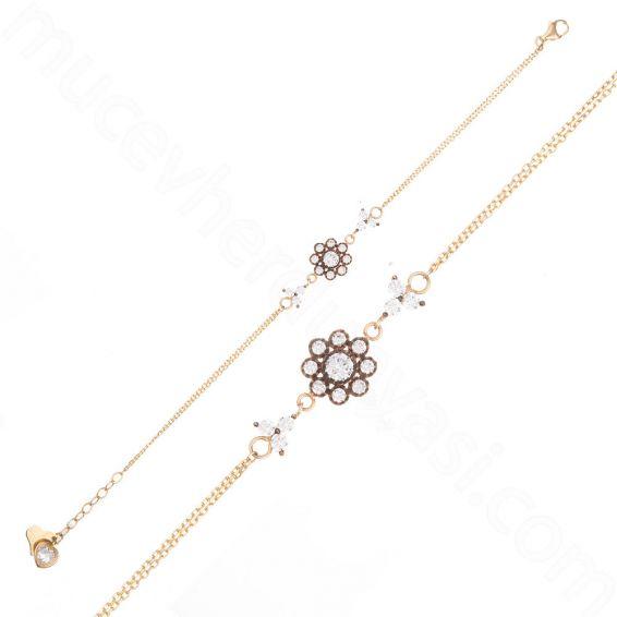Mücevher Dünyası - 14 Ayar Altın Çiçek Desenli Taşlı Bileklik