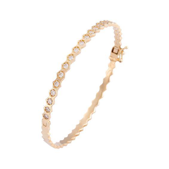 Mücevher Dünyası - 14 Ayar Altın Taşlı Bilezik Kelepçe