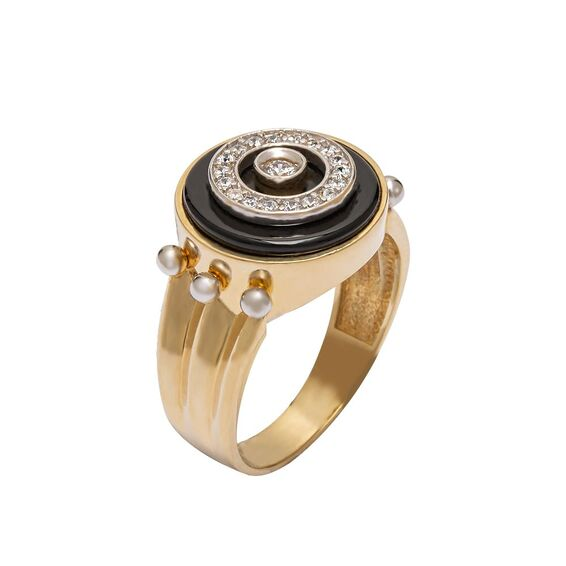 Mücevher Dünyası - 14 Ayar Taşlı Tasarım Altın Erkek Yüzük