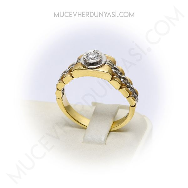 Mücevher Dünyası - 14 Ayar Altın Taşlı Erkek Yüzük   Mücevher Dünyası