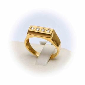 Mücevher Dünyası - 14 Ayar Altın Taşlı Erkek Yüzük | Mücevher Dünyası