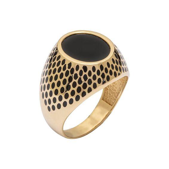 Mücevher Dünyası - 14 Ayar Siyah Taşlı Özel Tasarım Altın Erkek Yüzük
