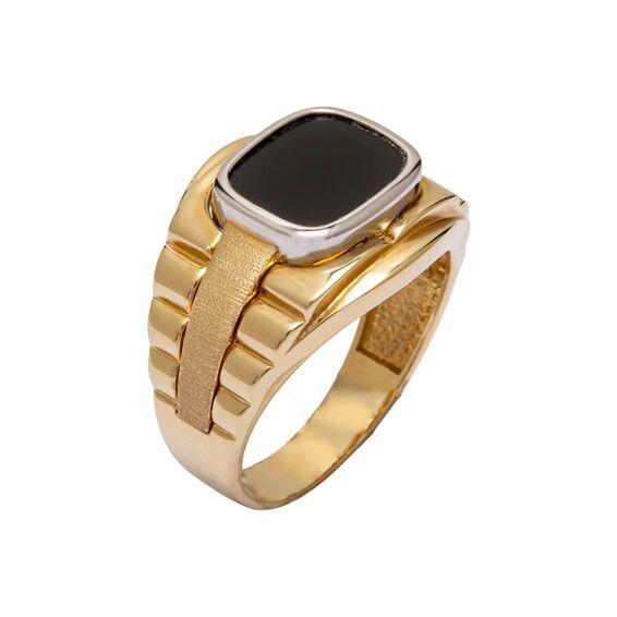 Mücevher Dünyası - 14 Ayar Siyah Taşlı Tasarım Altın Erkek Yüzük