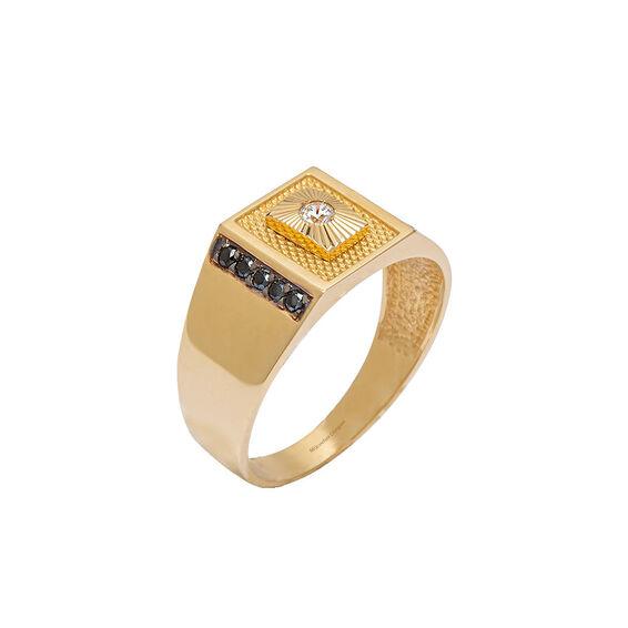 Mücevher Dünyası - 14 Ayar Taşlı Altın Erkek Yüzük