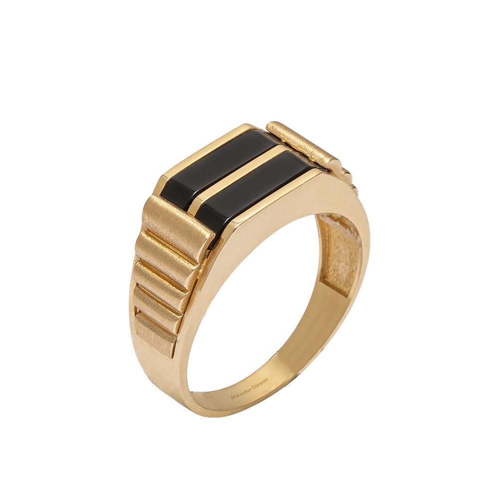 Mücevher Dünyası - 14 Ayar Taşlı Siyah Çizgili Altın Erkek Yüzük