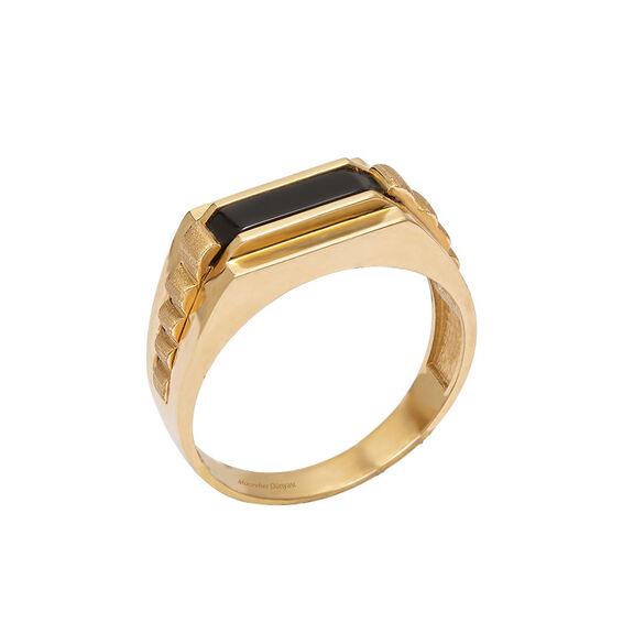 Mücevher Dünyası - 14 Ayar Siyah Taşlı Altın Erkek Yüzük