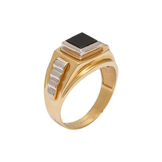 Mücevher Dünyası - 14 Ayar Siyah Taşlı Kare Altın Erkek Yüzük