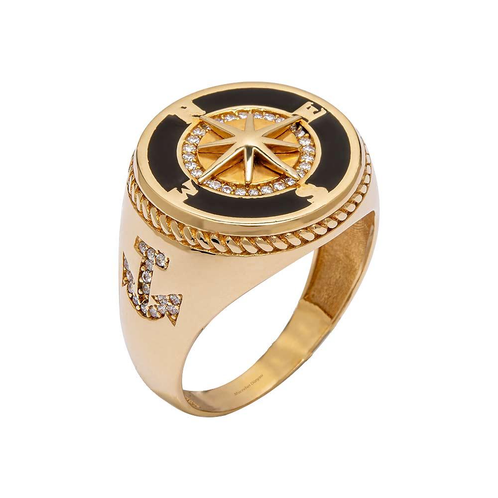 Mücevher Dünyası - 14 Ayar Taşlı Pusula ve Çapa Altın Erkek Yüzük