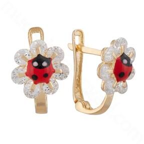 Mücevher Dünyası - 14 Ayar Altın Taşlı Çiçek Uğur Böcekli Çocuk Küpe