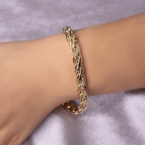 Mücevher Dünyası - 14 Ayar Altın Zincir Bileklik
