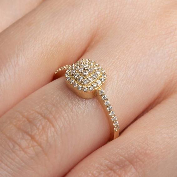 Mücevher Dünyası - 14 Ayar Zirkon Taşlı Baget Altın Yüzük - 12