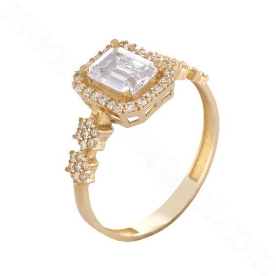 Mücevher Dünyası - 14 Ayar Zirkon Taşlı Baget Altın Yüzük - 18