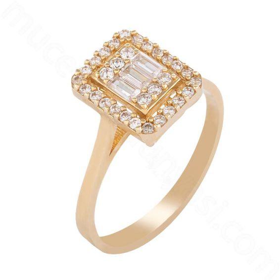 Mücevher Dünyası - 14 Ayar Zirkon Taşlı Baget Altın Yüzük - 13