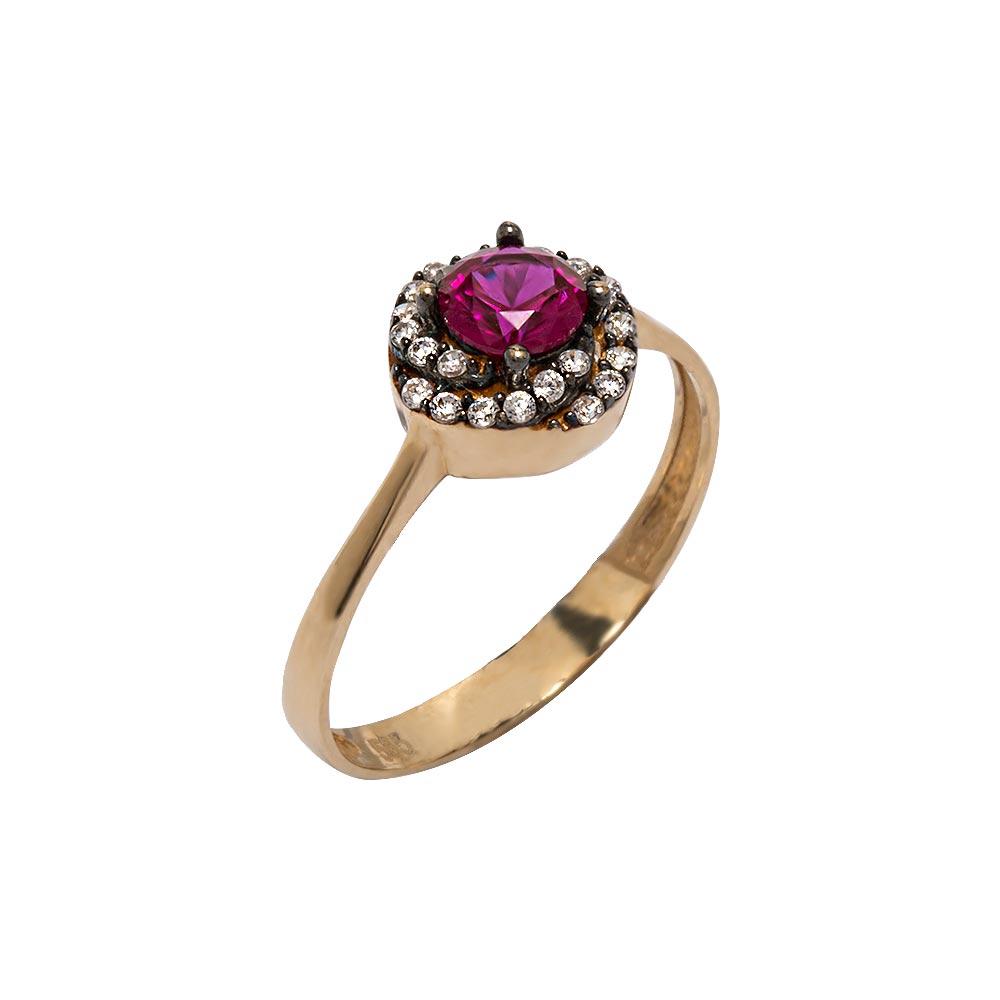 Mücevher Dünyası - 14 Ayar Ametist Taşlı Altın Yüzük