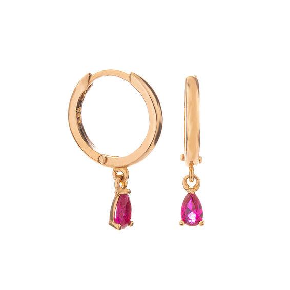 Mücevher Dünyası - 14 Ayar Ametist Taşlı Halka Altın Küpe