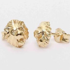 Mücevher Dünyası - 14 Ayar Aslan Altın Küpe | Mücevher Dünyası